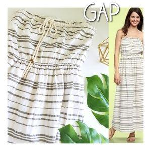 GAP Julie white stripe strapless maxi dress